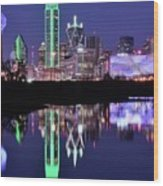 Blue Night And Reflections In Dallas Wood Print