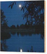 Blue Night Moon And Reflection Wood Print