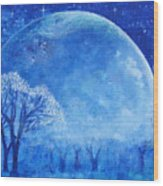 Blue Night Moon Wood Print by Ashleigh Dyan Bayer