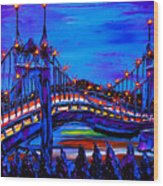 Blue Night Of St. Johns Bridge 37 Wood Print