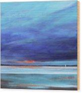 Blue Night Sail Wood Print by Toni Grote