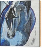 Blue Olympic Horse  Wood Print