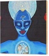 Blue Om Love Wood Print
