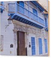 Blue Trim On White Building Wood Print