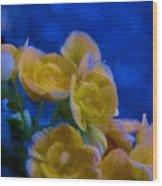 Yellow On Blue Wood Print