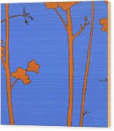 Blue Orange Tree Wood Print