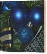 Blue Ornament Wood Print