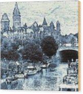 Blue Ottawa Skyline - Water Color Wood Print