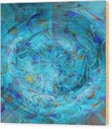 Blue Oval Wood Print