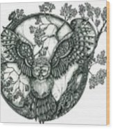 Blue Owl Wood Print
