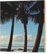 Blue Palms Wood Print by Karen Wiles