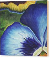 Blue Pansies  Wood Print