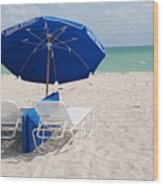 Blue Paradise Umbrella Wood Print