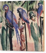 Blue Parrots Wood Print