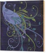 Blue Peacock Art Nouveau Wood Print