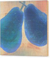 Blue Pears On Soft Peach Wood Print