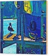 Blue Pelicans Wood Print