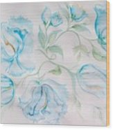 Blue Peonies Wood Print