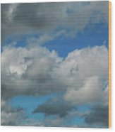 Blue Perfect Sky Sea Of Clouds From High Altitude Space Wood Print