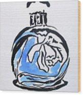 Blue Perfume Bottle Wood Print
