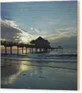 Blue Pier 60 Sunset Wood Print