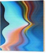 Blue Pinch Wave Wood Print