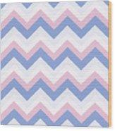 Blue Pink Chevron Pattern Wood Print