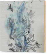 Blue Plant Of Dream Wood Print