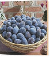 Blue Plums In A Basket Wood Print