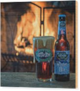 Blue Point Winter Ale By The Fire Wood Print