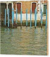 Blue Poles In Venice Wood Print