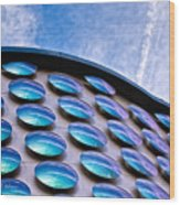 Blue Polka-dot Wave Wood Print