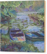 Blue Pond Wood Print