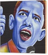 Blue Pop President Barack Obama Wood Print