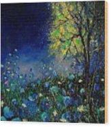 Blue Poppies And Diasies 67 Wood Print
