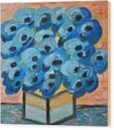 Blue Poppies In Square Vase  Wood Print