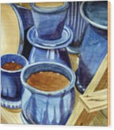Blue Pots Wood Print