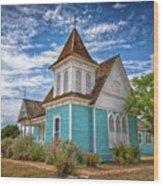 Blue Prairie Church Wood Print