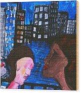 Blue Promenade Wood Print