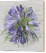 Blue Purple Flowers Wood Print