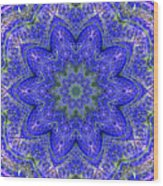 Blue Purple Lavender Floral Kaleidoscope Wall Art Print Wood Print