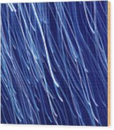 Blue Rain Abstract Wood Print