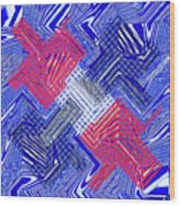 Blue Red And White Janca Abstract Panel Wood Print