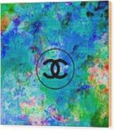 Blue Red Black Chanel Logo Print Wood Print