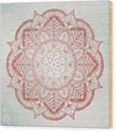 Blue Red Mandala Wood Print