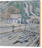 Blue Ridge Church Wood Print