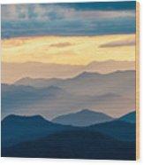 Blue Ridge Parkway Nc Blue Ridges And Golden Light Wood Print