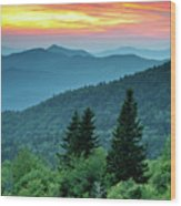 Blue Ridge Parkway Nc Landscape - Fire In The Mountains Wood Print