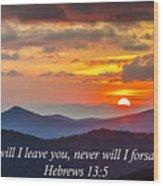 Blue Ridge Parkway Nc Sunset Inspiration Wood Print