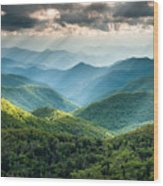 Blue Ridge Southern Appalachian Mountain Light Show Wood Print